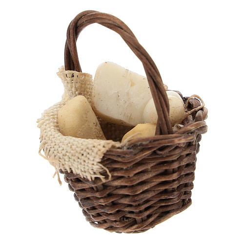 Wicker basket with cheese Nativity scene 12 cm 2