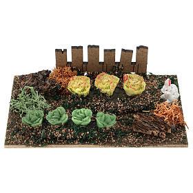 Comida em Miniatura para Presépio: Horta com alface e coelho resina para presépio