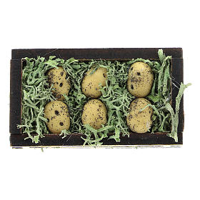 Wooden and resin case with potatoes for Nativity scene 4 cm s1