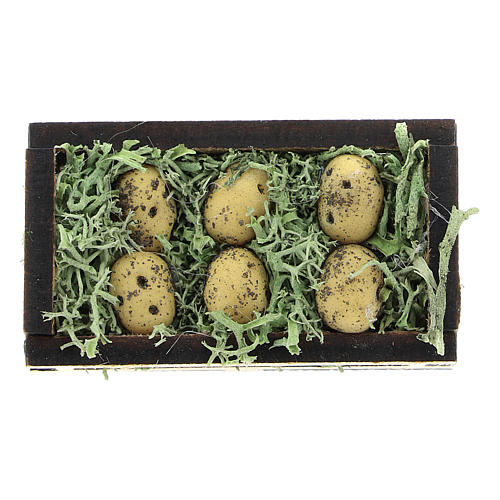 Wooden and resin case with potatoes for Nativity scene 4 cm 1
