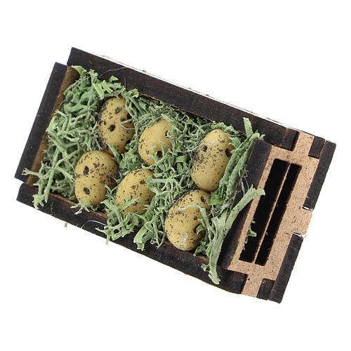 Wooden and resin case with potatoes for Nativity scene 4 cm 2