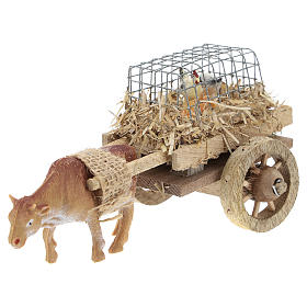 Carriage with ox and chickens for crib 7x15 cm s2