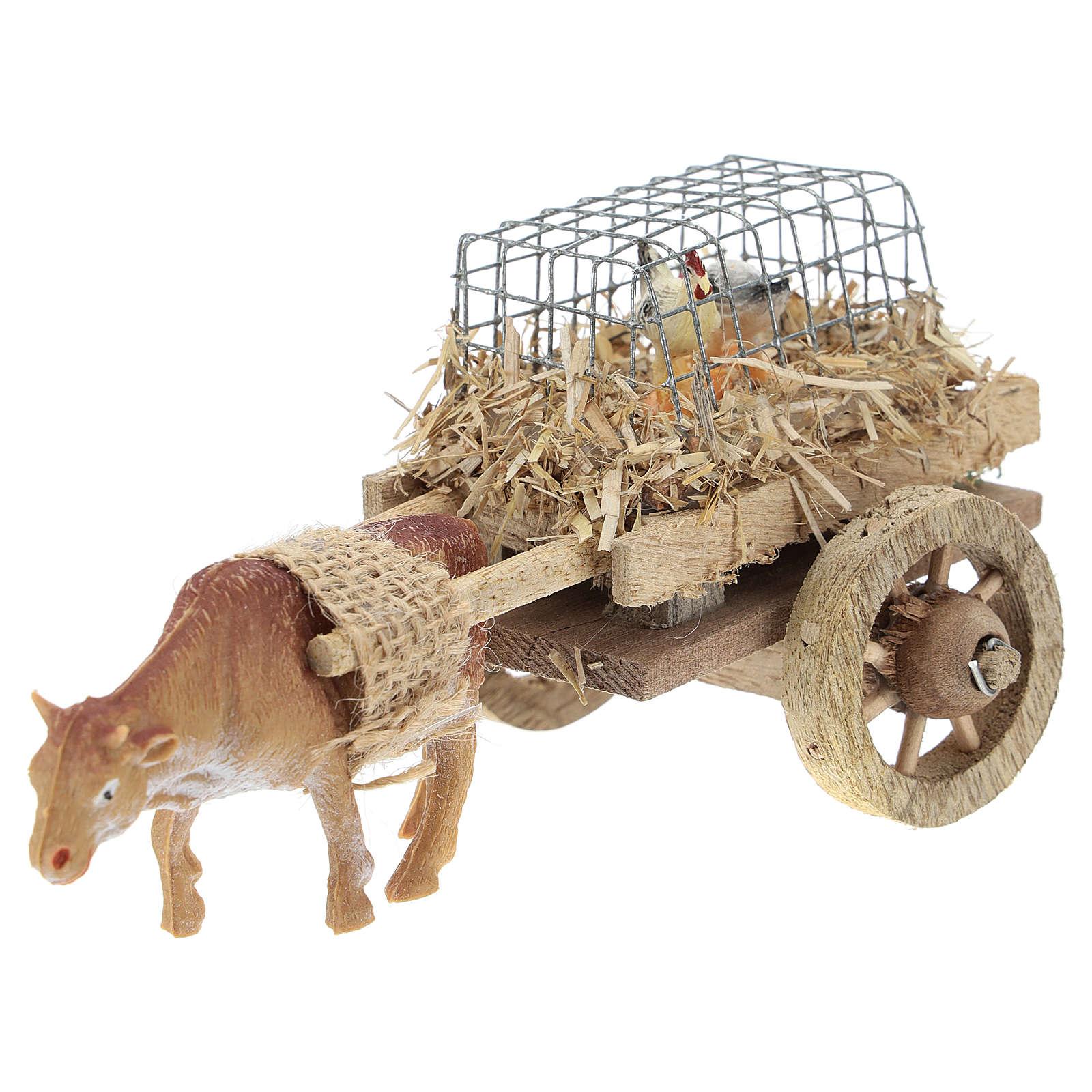 Carro con buey y gallinas para belén 7x15 cm 4