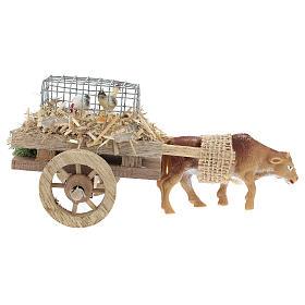 Carro con buey y gallinas para belén 7x15 cm s4