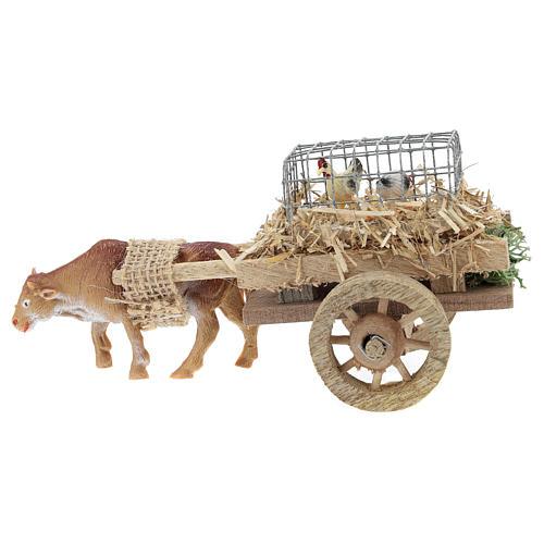 Carro con buey y gallinas para belén 7x15 cm 1