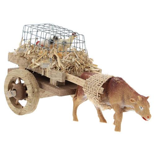 Carro con bue e galline per presepe 7x15 cm 3