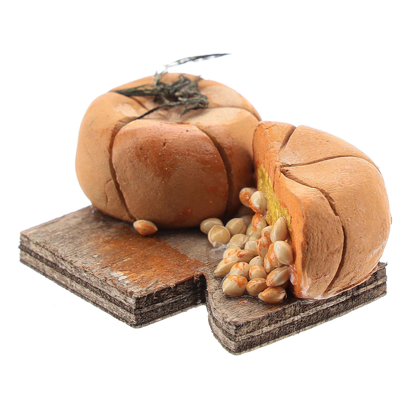 Planche à découper citrouille et graines crèche napolitaine 12 cm 4