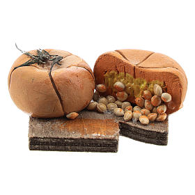 Comida em Miniatura para Presépio: Tábua de cortar abobora e sementes para presépio napolitano com figuras de 12 cm de altura média