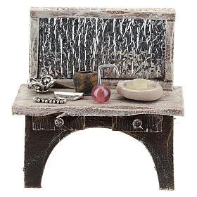 Table avec outils barbier crèche 10 cm s1