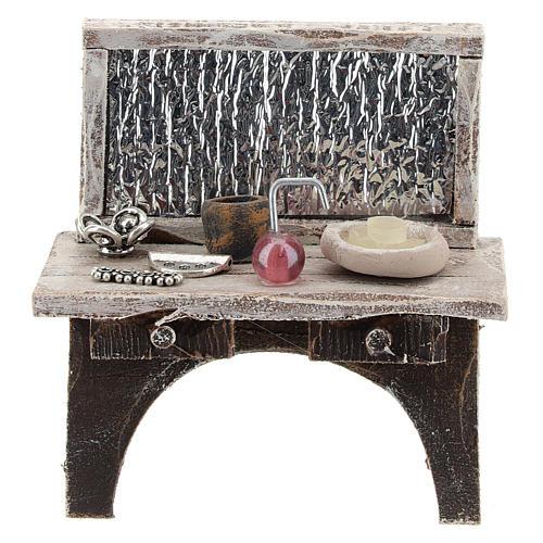 Table avec outils barbier crèche 10 cm 1