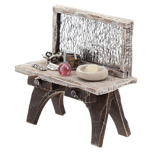 Table avec outils barbier crèche 10 cm 2