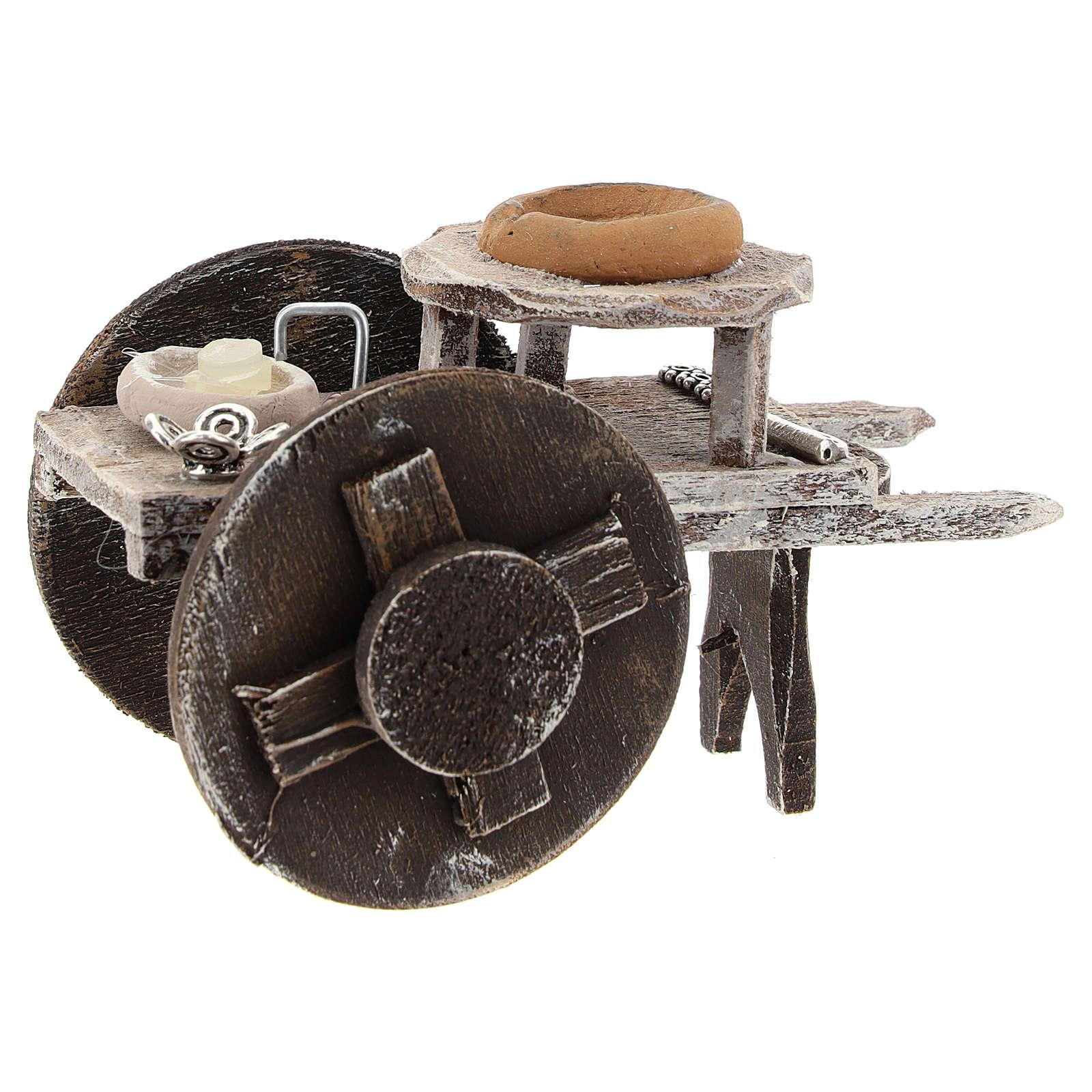 Carro barbero con herramientas belén 10 cm 4