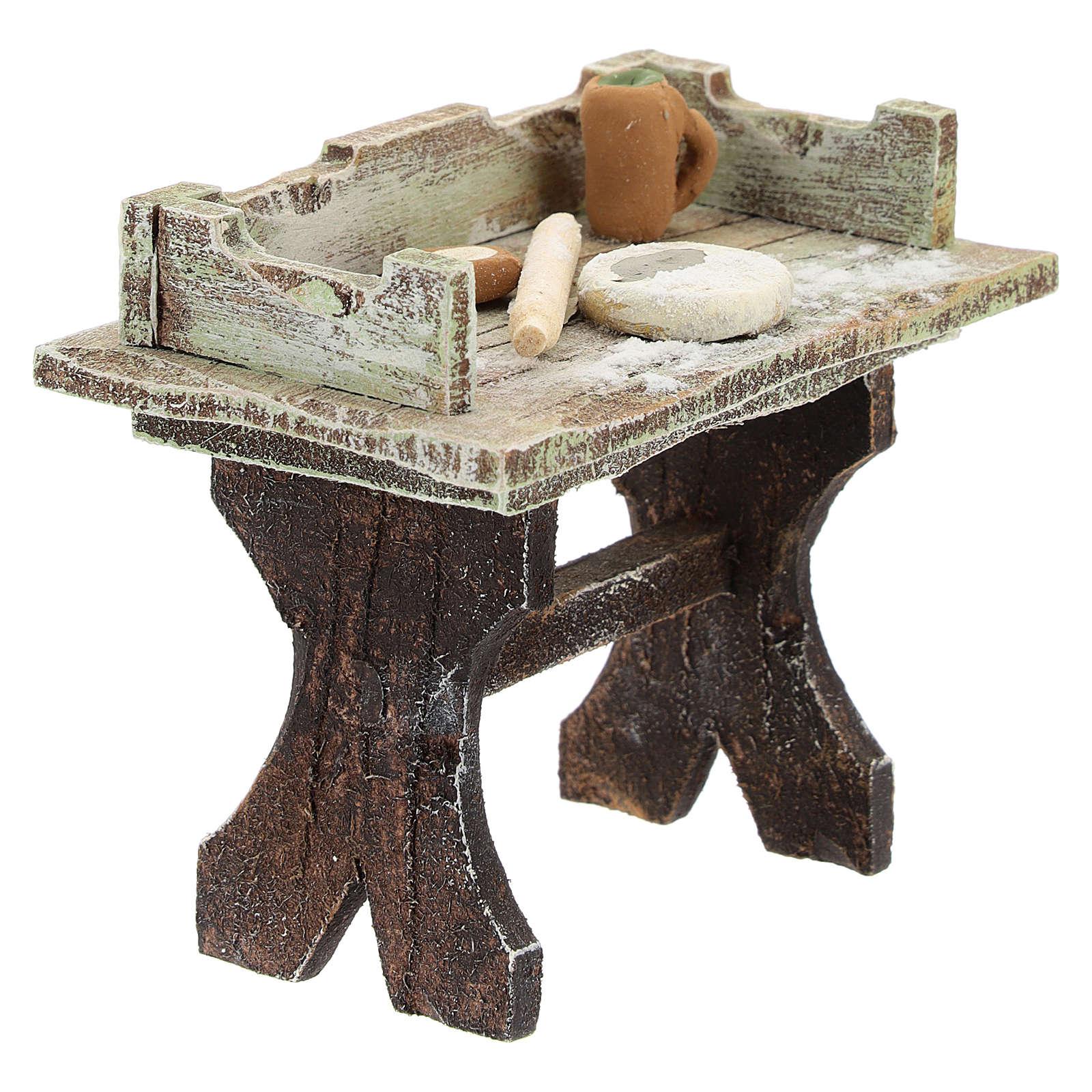 Banco pizzaiolo legno presepi 12 cm 4