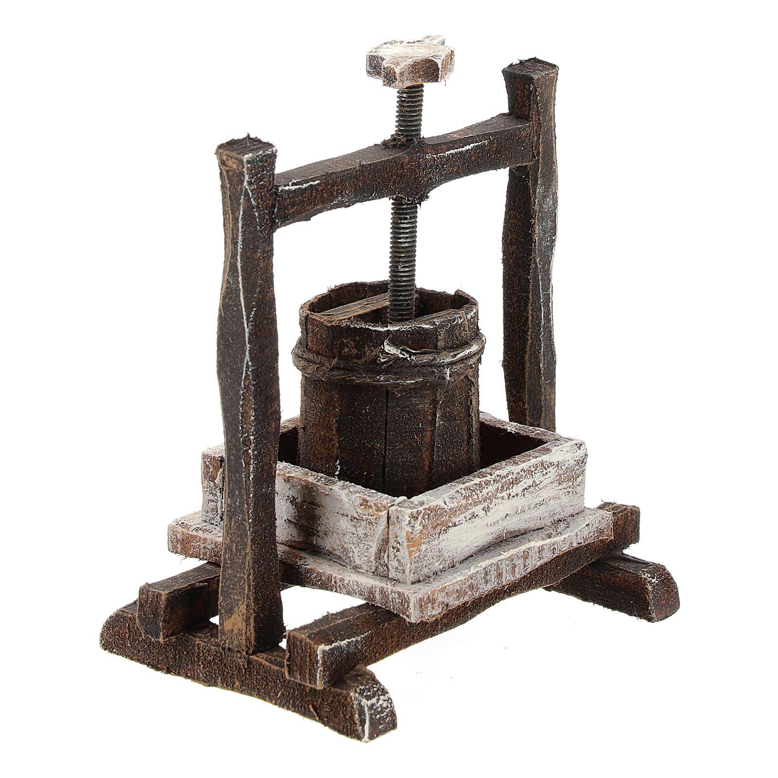 Pressoir raisin bois pour crèche 10 cm 4