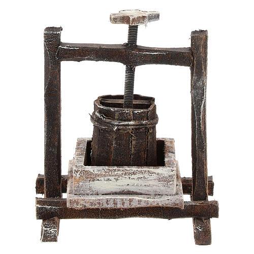 Pressoir raisin bois pour crèche 10 cm 1