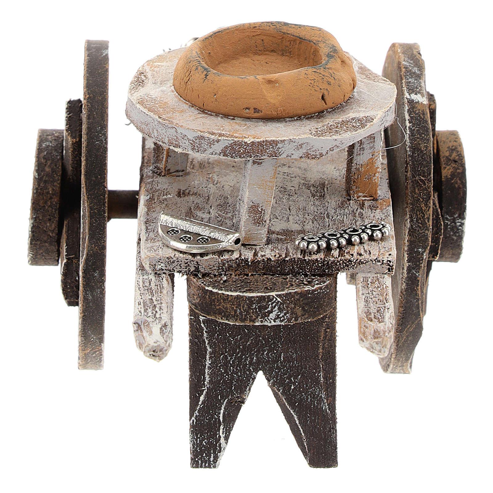 Charrette bois barbier avec outils crèche 12 cm 4