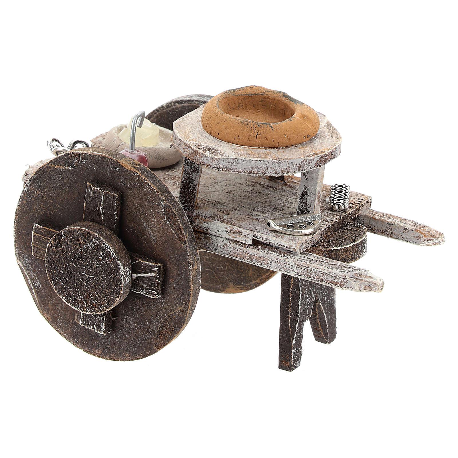 Carretto legno barbiere con attrezzatura presepi 12 cm 4