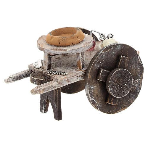 Carretto legno barbiere con attrezzatura presepi 12 cm 1