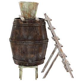 Barrell with stairs and grape vat for 12 cm Nativity scene s2