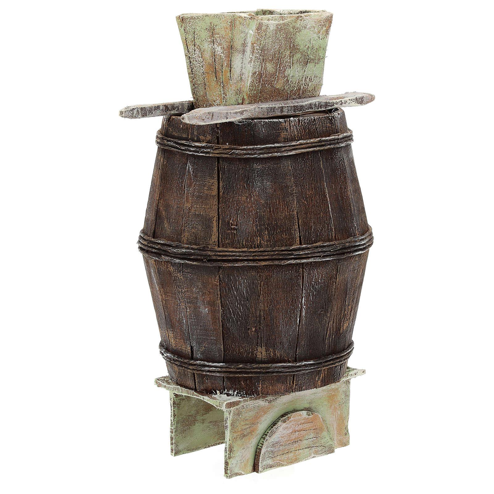 Barril con escalera y prensa uva belén 12 cm 4
