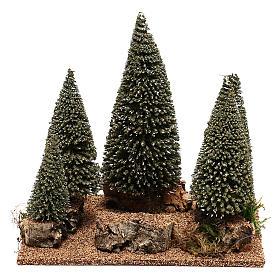 Bosque de pinos belén en estilo nórdico de 6 cm s1
