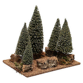 Bosque de pinos belén en estilo nórdico de 6 cm s3