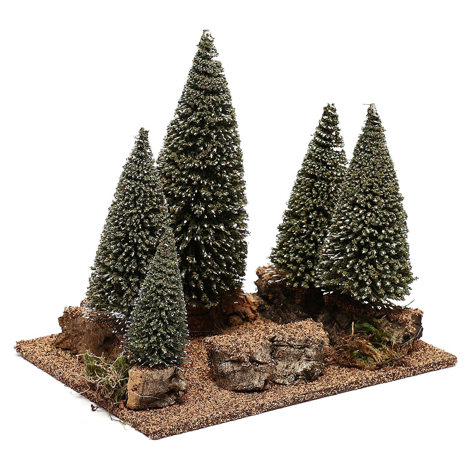 Forêt de sapins pour crèche en style nordique de 6 cm 4