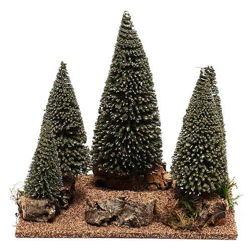 Forêt de sapins pour crèche en style nordique de 6 cm 1