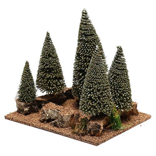 Forêt de sapins pour crèche en style nordique de 6 cm 2