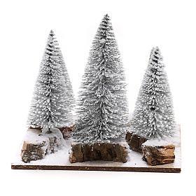 Forêt de sapins enneigés pour crèche en style nordique de 6 cm s4
