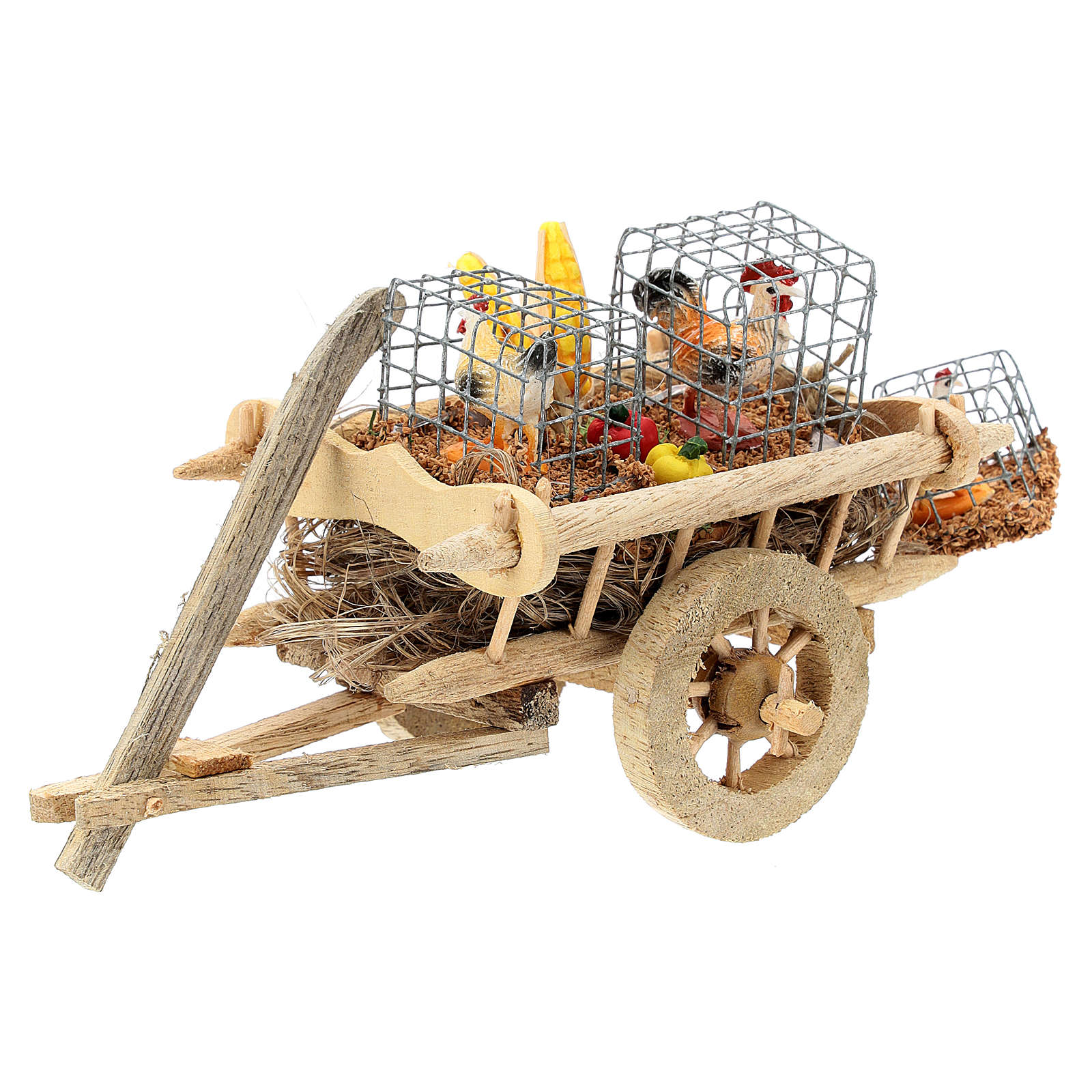 Cart with chickens and vegetables for 10 cm Nativity scene 4