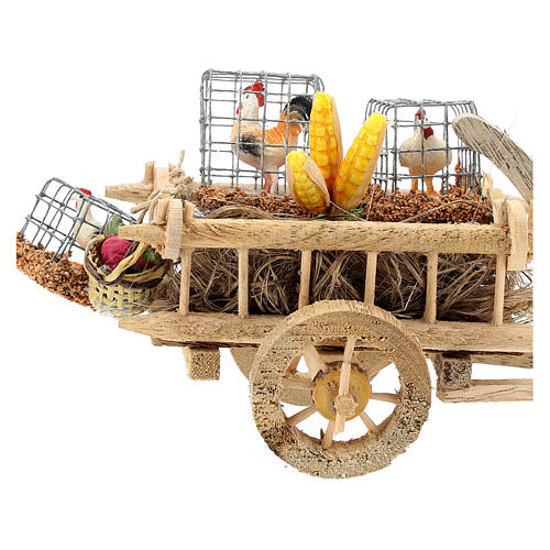 Cart with chickens and vegetables for 10 cm Nativity scene 2