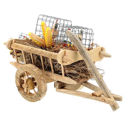 Cart with chickens and vegetables for 10 cm Nativity scene 3