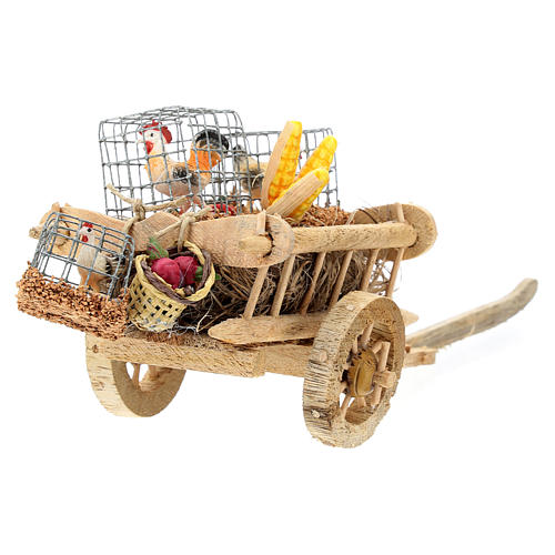Cart with chickens and vegetables for 10 cm Nativity scene 5