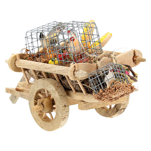 Cart with chickens and vegetables for 10 cm Nativity scene 6