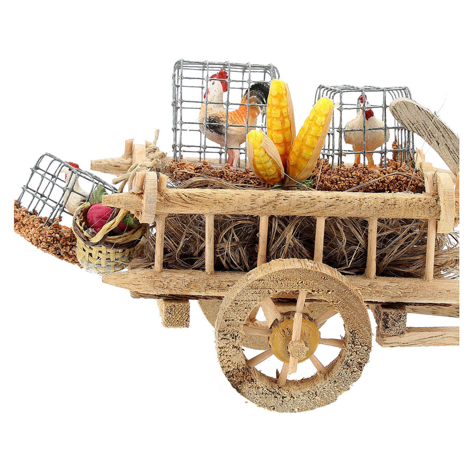 Carro con gallinas y verduras belén 10 cm 4