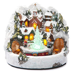 Animated Christmas village houses with train 20x20 cm s1