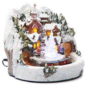 Animated Christmas village houses with train 20x20 cm s3
