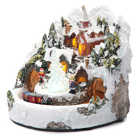 Pueblo Navideño en miniatura con trenecito 20 x 20 cm s2