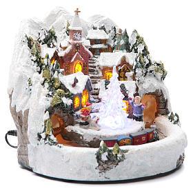 Pueblo Navideño en miniatura con trenecito 20 x 20 cm s3