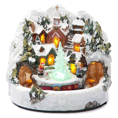 animated christmas village houses with train 20x20 cm 1 - Animated Christmas Village