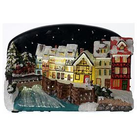 Villaggio di Natale casette con ponte resina 30x25x30 cm s1