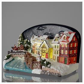 Villaggio di Natale casette con ponte resina 30x25x30 cm s3
