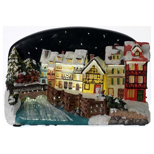 Villaggio di Natale casette con ponte resina 30x25x30 cm 1