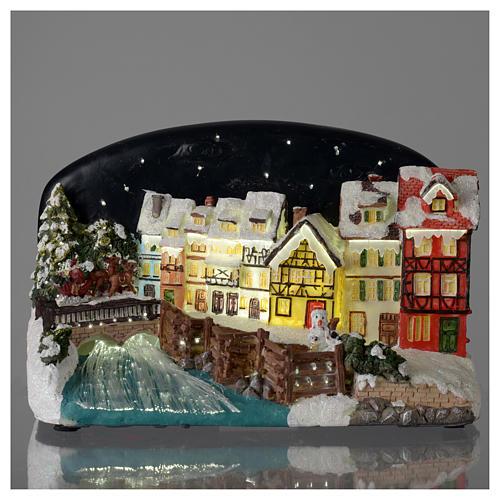 Villaggio di Natale casette con ponte resina 30x25x30 cm 2