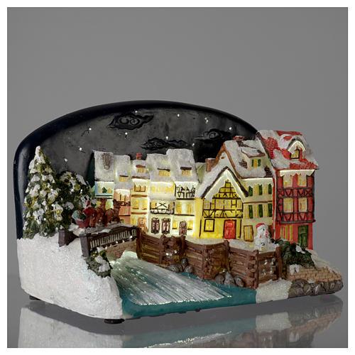 Villaggio di Natale casette con ponte resina 30x25x30 cm 4