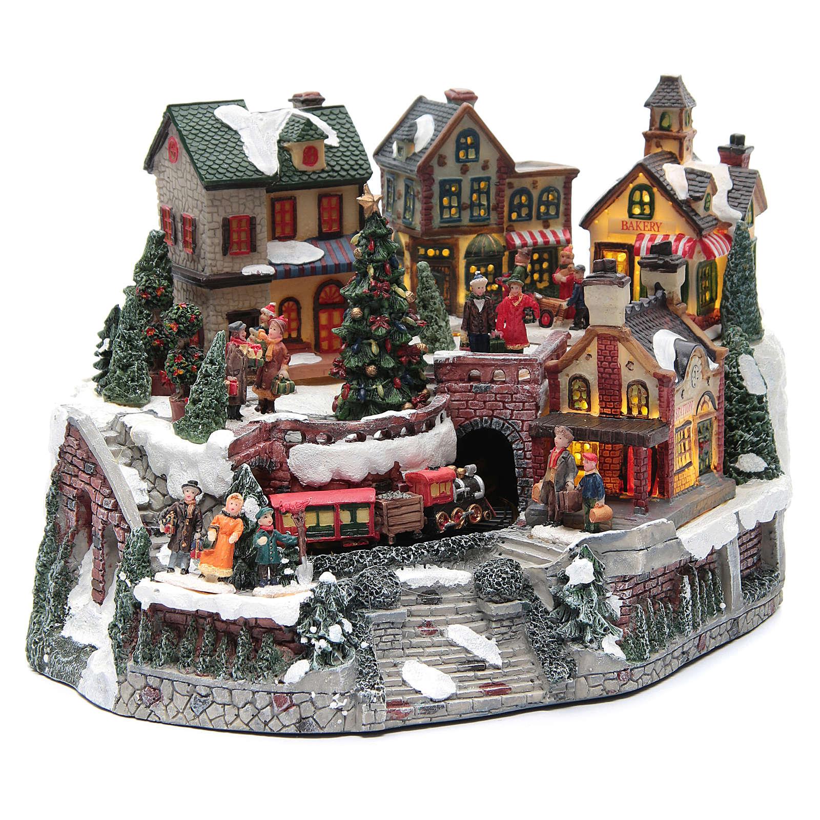 Weihnachtsdorf, mit Bahnhof und Zug, aus Kunstharz, 35x25x20 cm 3