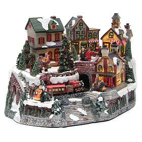Weihnachtsdorf, mit Bahnhof und Zug, aus Kunstharz, 35x25x20 cm s3