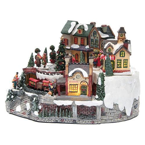 Weihnachtsdorf, mit Bahnhof und Zug, aus Kunstharz, 35x25x20 cm 2