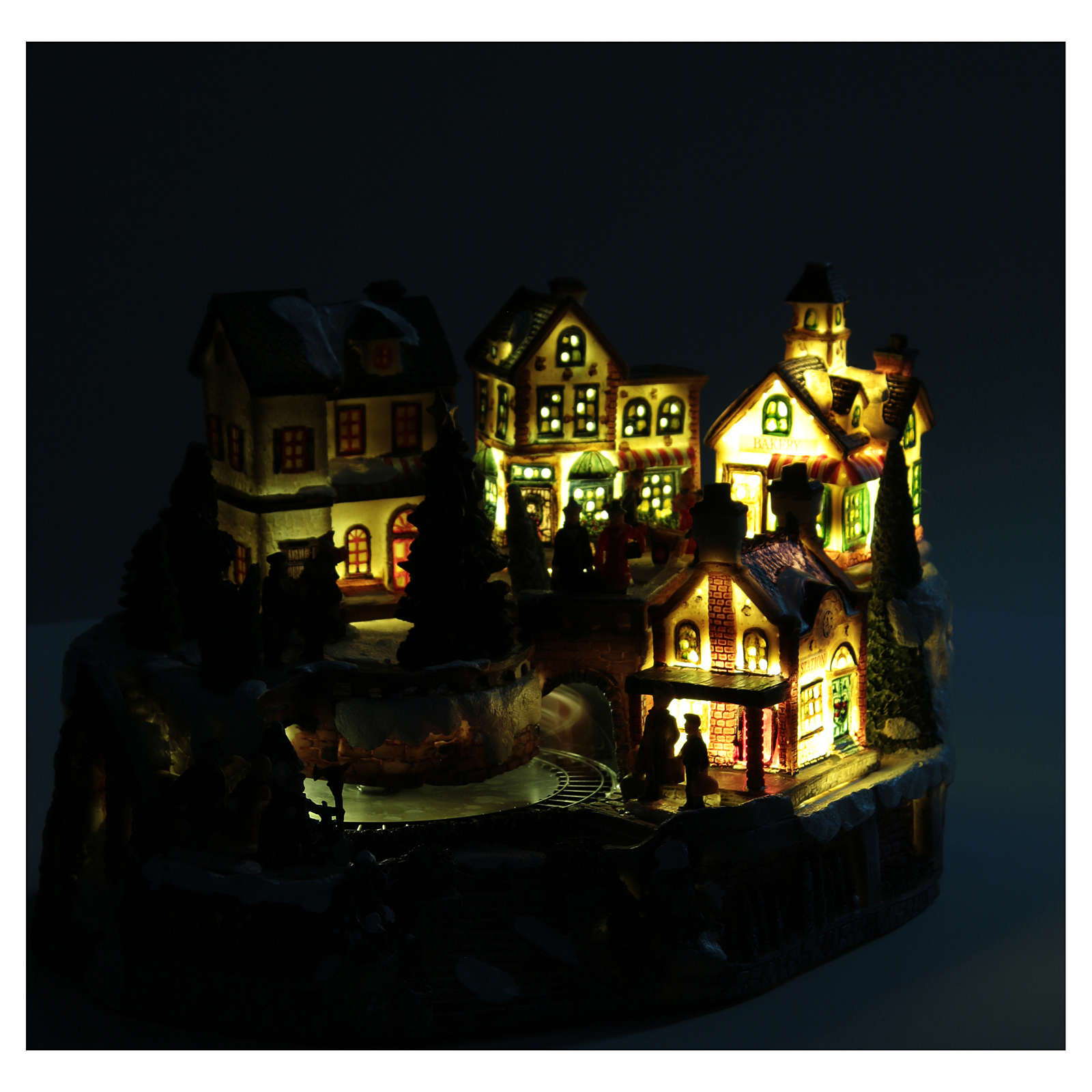 Animated Christmas village with train 35x25x20 cm 3